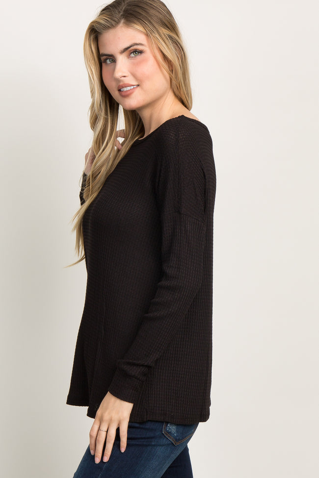 Black Waffle Knit Long Sleeved Top