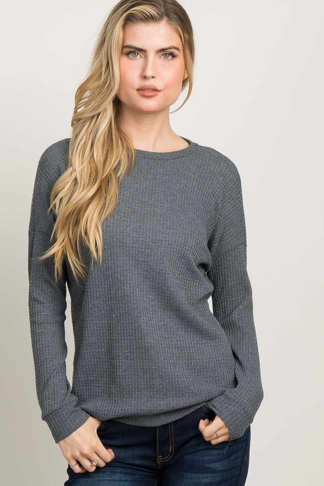 Charcoal Grey Waffle Knit Long Sleeve Maternity Top