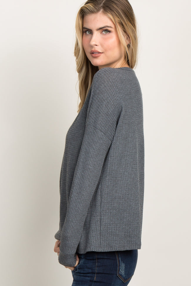 Charcoal Grey Waffle Knit Long Sleeve Top