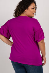 Magenta Crisscross Ruffle Sleeve Plus Maternity Top