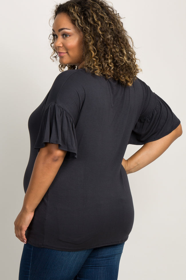 Black Keyhole Ruffle Sleeve Plus Maternity Top