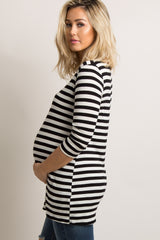 Black White Striped 3/4 Sleeve Maternity Top