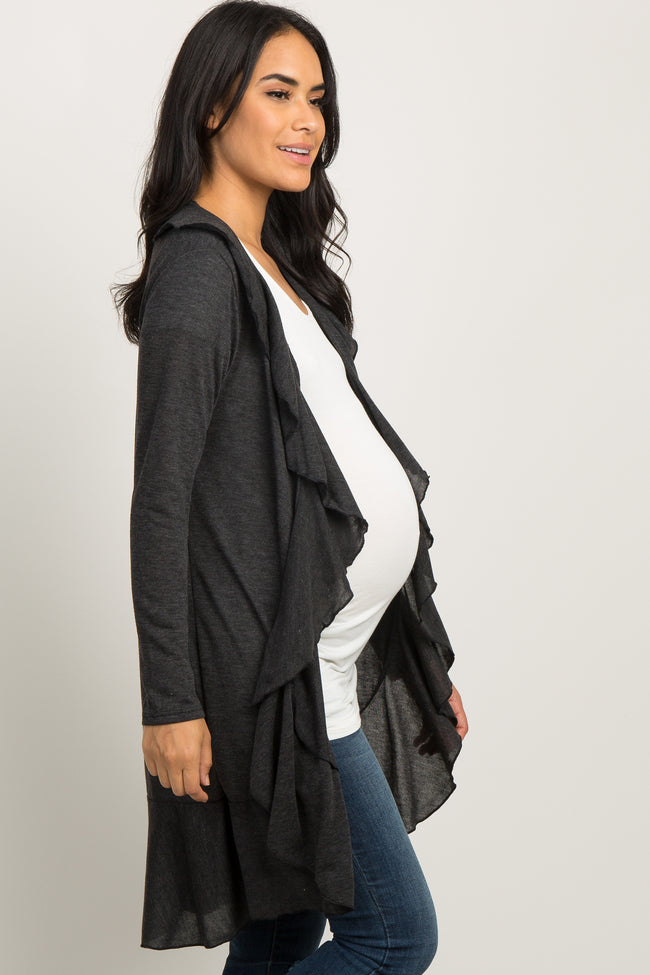 Charcoal Grey Long Sleeve Ruffle Trim Maternity Cardigan