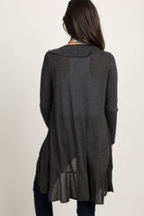 Charcoal Grey Long Sleeve Ruffle Trim Cardigan
