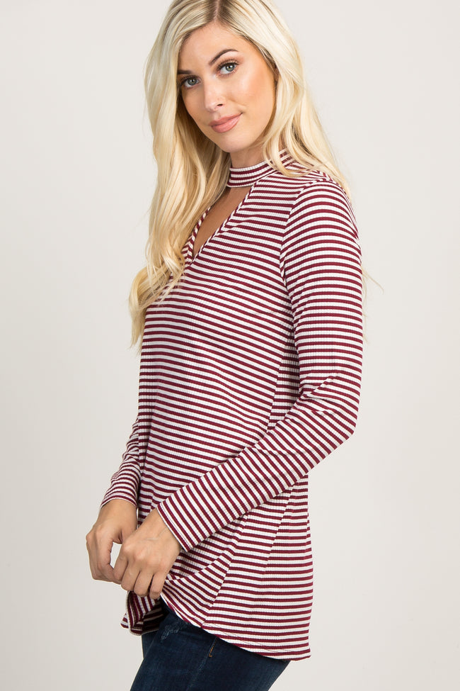 Burgundy Striped Cutout Mock Neck Top