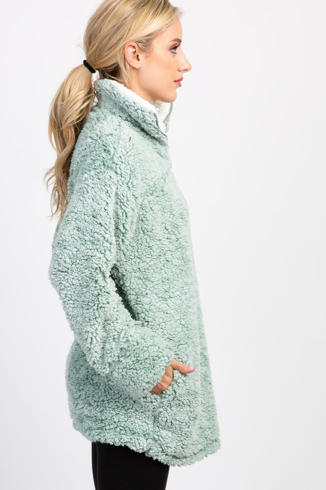 Mint Green Fuzzy Zip Up Sweater