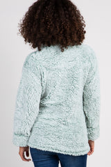 Mint Green Fuzzy Zip Up Maternity Sweater