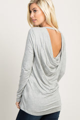 Heather Grey Cutout Draped Back Maternity Top