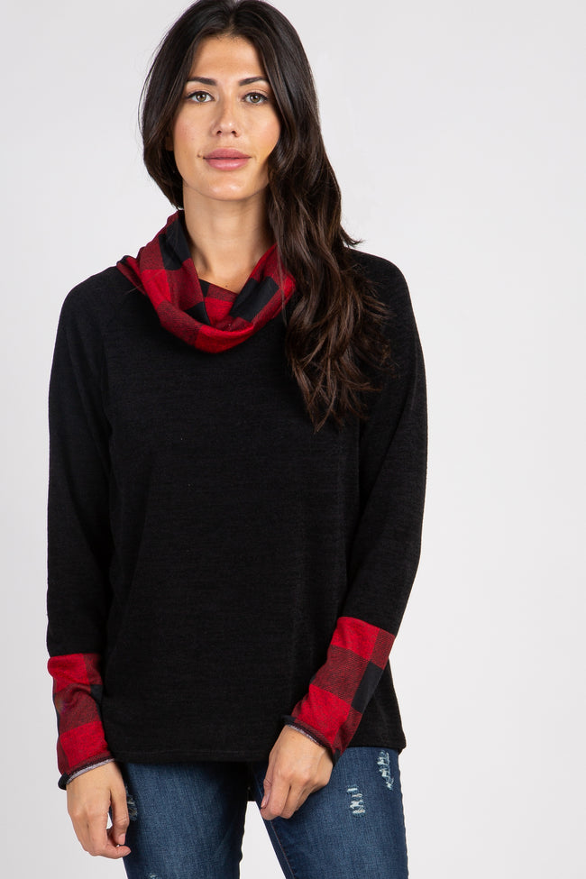 Black Plaid Cowl Neck Top