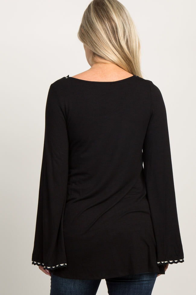 Black Scallop Crochet Trim Long Sleeve Maternity Top