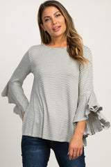 Green Striped Bell Sleeve Cutout Top
