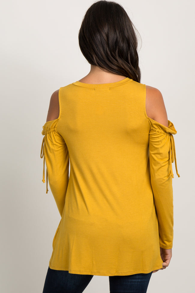 Mustard Long Sleeve Cold Shoulder Tie Top