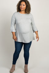 Heather Grey Striped Ruffle Sleeve Maternity Top