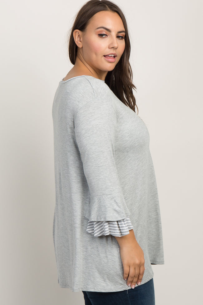 Heather Grey Striped Ruffle Sleeve Top