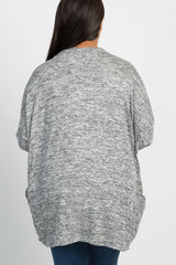 Grey Heathered Dolman Sleeve Plus Cardigan