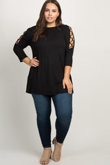 Black Crisscross Sleeve Plus Top