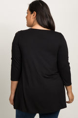 Black Crisscross Sleeve Maternity Plus Top