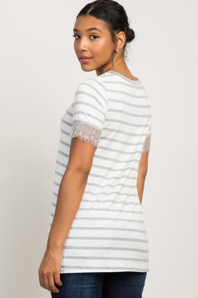 Heather Grey Striped Lace Sleeve Top