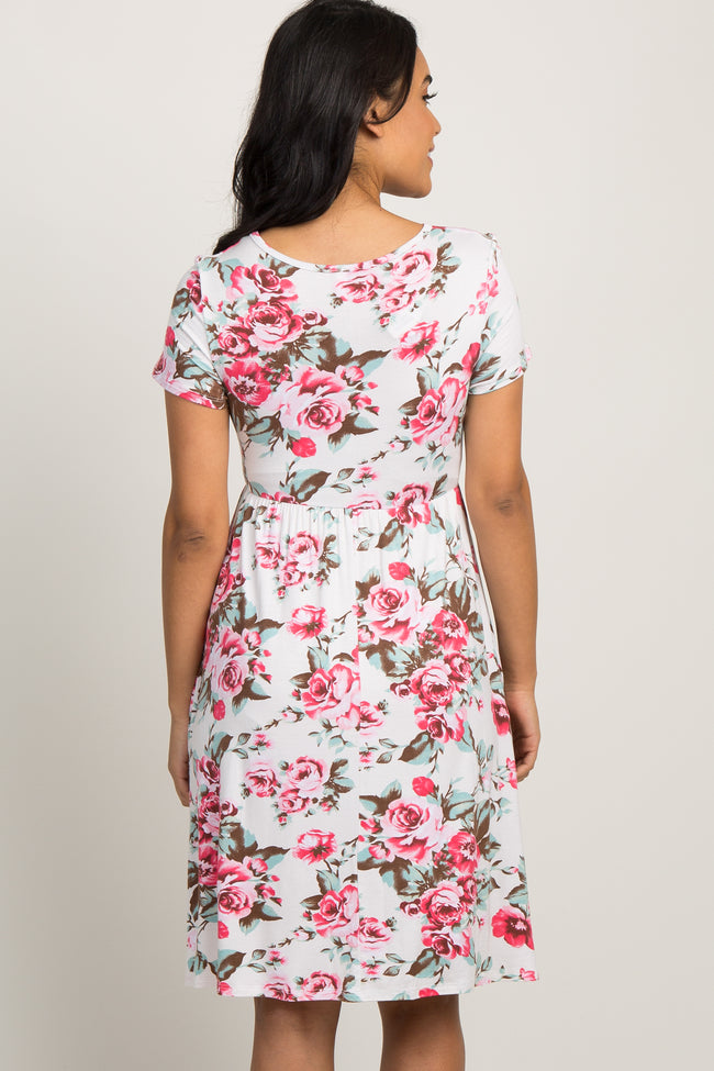 Ivory Floral Print Pleated Maternity Dress