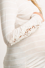 Beige White Striped Crochet Sleeve Maternity Tunic
