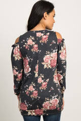 Charcoal Grey Rose Floral Cold Shoulder Top