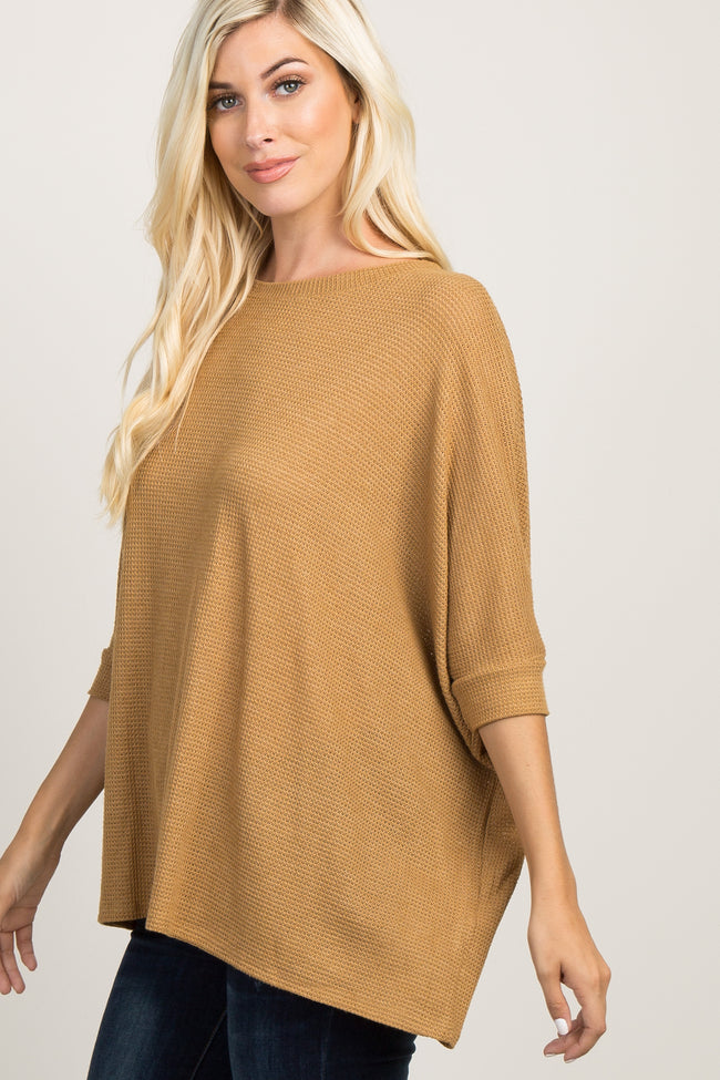 Yellow Open Knit Dolman Top