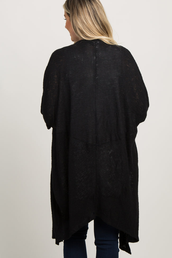 Black Over Sized Dolman Knit Maternity Cardigan