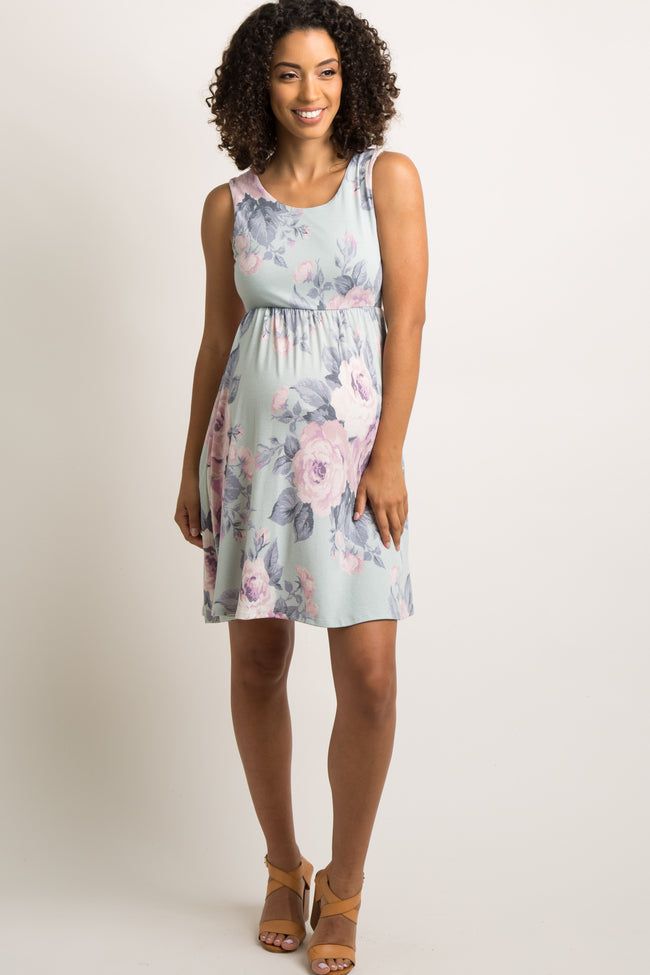 Light Mint Floral Print Sleeveless Maternity Dress