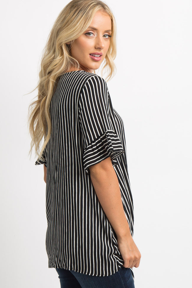 Black Striped Ruffle Trim Short Sleeve Tie Knot Top