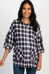 Black Plaid Flannel Oversized Button Up Frayed Hem Top