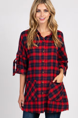 Red Plaid Flannel Oversized Button Up Frayed Hem Maternity Top