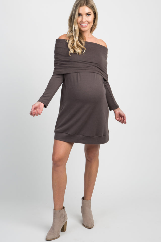 Charcoal Grey Foldover Off Shoulder Knit Maternity Dress