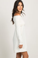 Cream Foldover Off Shoulder Knit Dress