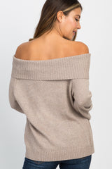 Mocha Knit Foldover Off Shoulder Top
