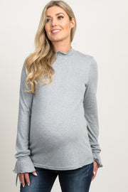 Heather Grey Smocked Sleeve Tie Maternity Top