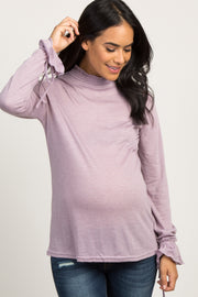 Lavender Smocked Sleeve Tie Maternity Top