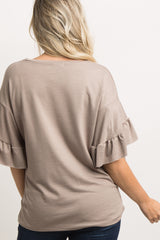 Taupe Layered Ruffle Sleeve Maternity Top