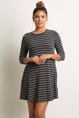 Charcoal Grey Striped 3/4 Sleeve Swing Dress
