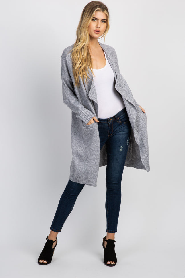 Heather Grey Draped Front Knit Maternity Cardigan
