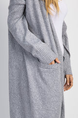Heather Grey Draped Front Knit Cardigan