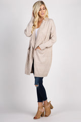 Beige Draped Front Knit Cardigan