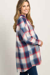 Navy Plaid Button Up Maternity Top