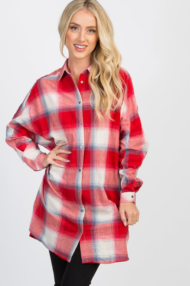 Red Plaid Button Up Top