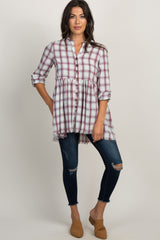 Burgundy Plaid Button Front Peplum Maternity Top