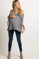 Black Gingham Ruffle Open Shoulder Maternity Top