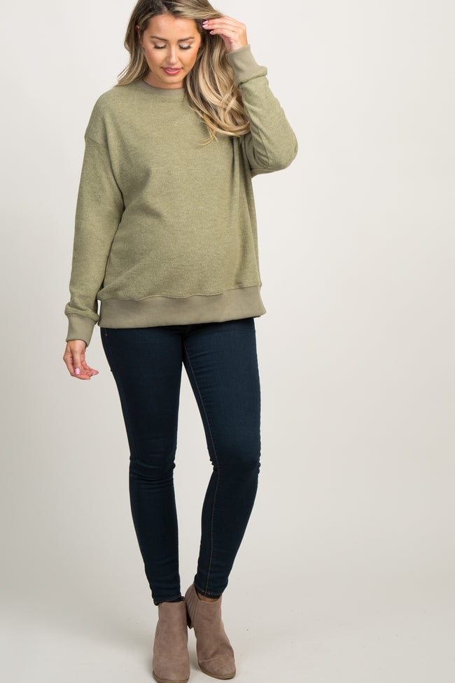 Light Olive Pullover Maternity Sweater