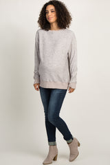 Taupe Pullover Maternity Sweater