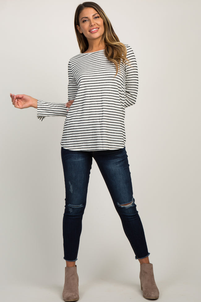 Beige Long Button Sleeve Striped Top