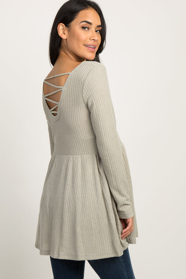 Light Olive Waffle Knit Crisscross Back Peplum Maternity Top
