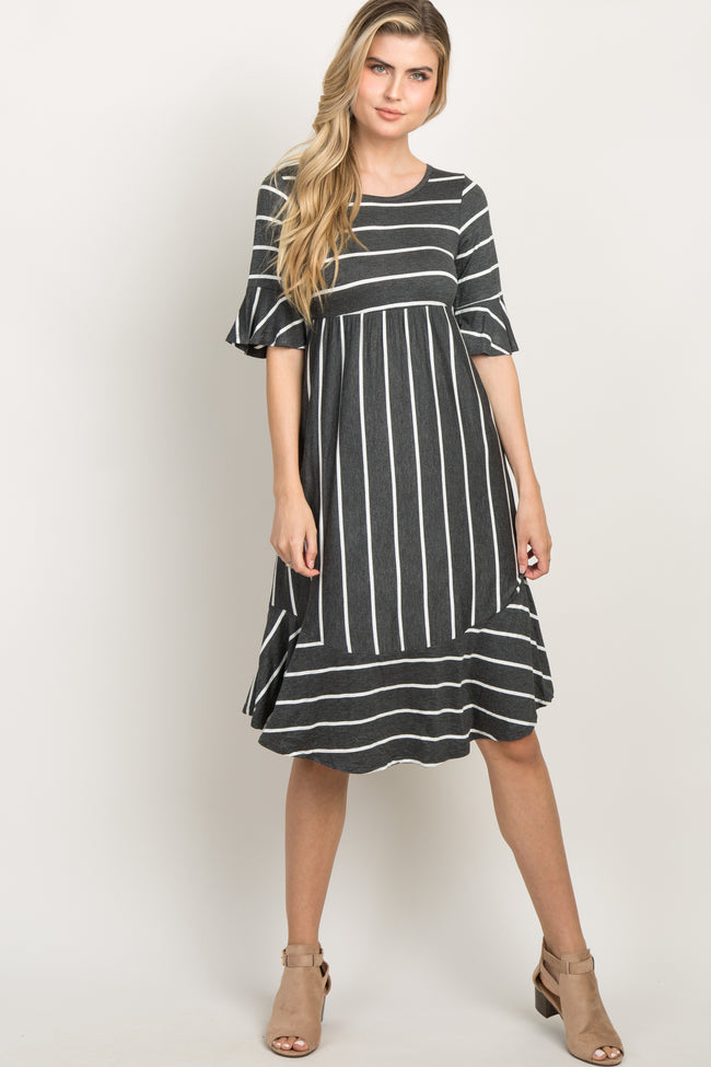 Charcoal Striped Ruffle Trim Dress